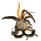 Венецианский карнавал - Маска с пайетками и перьями