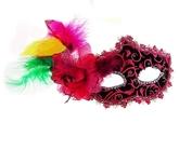 Венецианский карнавал - Маска загадка розово-черная