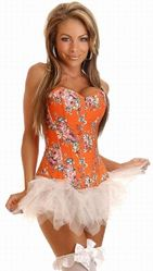 Корсеты - Оранжевый корсет с цветочным принтом