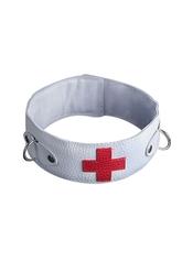 Врачи и доктора - Ошейник белый с красным крестом