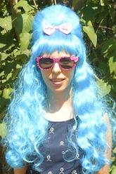 Парики и шляпы - Парик с длинными голубыми волосами