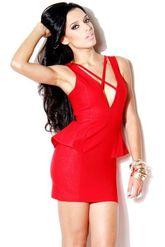 Клубные платья - Платье красное с баской