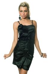 Клубные платья - Платье с цветком темно-зеленое