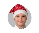 Дед Мороз - Плюшевый красный колпак со снежинками
