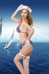 Моряки - Полосатый откровенный комплект морячки