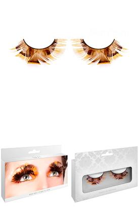 Ресницы Оранжево-коричневые перья