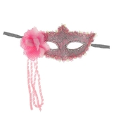 Венецианский карнавал - Розовая карнавальная маска с цветком