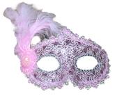 Венецианский карнавал - Розовая маска с пером