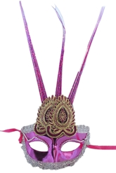 Венецианский карнавал - Розовая маска с украшением