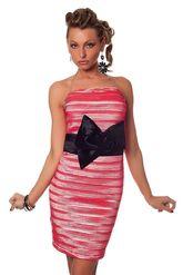 Клубные платья - Розовое гофрированное платье
