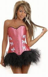 Корсеты - Розовый корсет с белыми бантами и юбкой