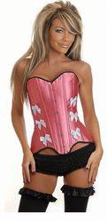 Корсеты - Розовый корсет с белыми бантами