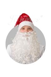 Борода и усы - Сатиновый красный колпак с бородой