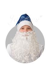 Борода и усы - Сатиновый синий колпак с бородой