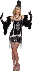 Серебристый костюм девушки из двадцатых