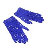 Перчатки и боа - Синие блестящие