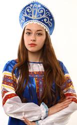 Женские костюмы - Синий кокошник Девичий в серебре