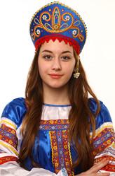 Женские костюмы - Синий кокошник Девичий в золоте с красным