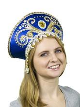 На Новый год - Синий кокошник Княжна с золотом