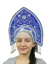 На Новый год - Синий кокошник Ярославна с серебром