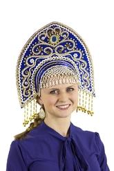 На Новый год - Синий кокошник Ярославна с золотом