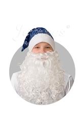 Борода и усы - Синий колпак со снежинками бородой