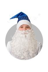 Борода и усы - Синий сатиновый колпак с бородой