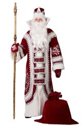 Дед Мороз - Взрослый костюм Деда Мороза бордовый