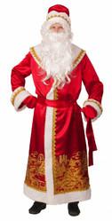 Дед Мороз - Взрослый костюм Деда Мороза с золотым принтом