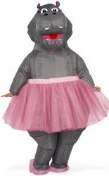Надувные - Взрослый надувной костюм Бегемота в юбке