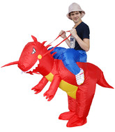 Динозавры - Взрослый надувной костюм На динозавре