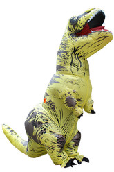 Надувные - Взрослый надувной костюм желтого Ти-Рекса