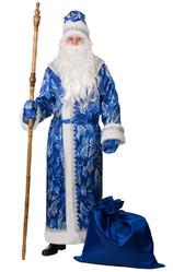 Дед Мороз - Взрослый синий костюм Деда Мороза с принтом