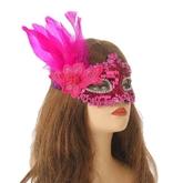 Венецианский карнавал - Яркая розовая маска с перьями