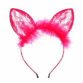 Кошки - Ярко-розовые кружевные ушки