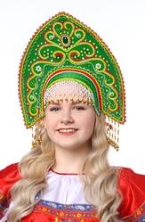 Русские народные костюмы - Зеленый заостренный кокошник