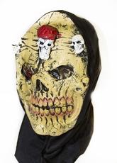 Карнавальные маски - Желтая латексная маска черепа