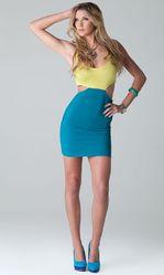 Клубные платья - Желто-бирюзовое платье