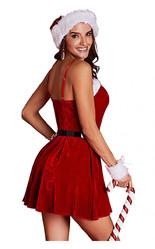 Санта - Женский вельветовый костюм Санты