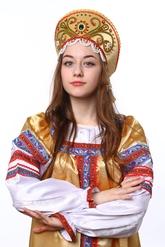 Русские народные костюмы - Золотистый круглый кокошник
