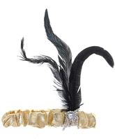 Для костюмов - Золотой флаппер с пером