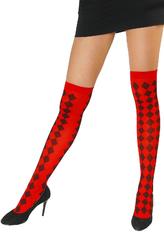 Женские костюмы - Красные чулки с черными ромбами