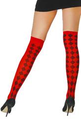 Чулки и колготки - Красные чулки с черными ромбами