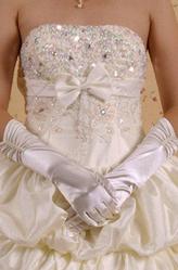 Женские костюмы - Жемчужные атласные перчатки